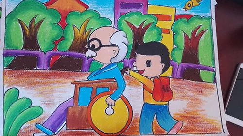 四小学开展 创文明城区 绘画比赛