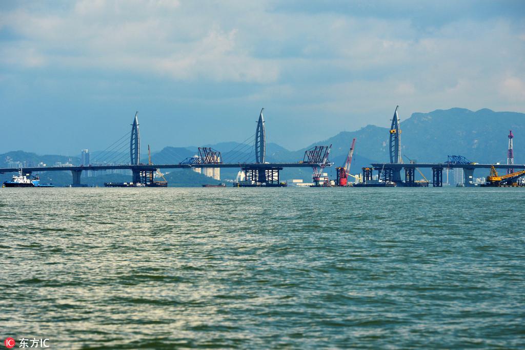 """图为江海直达船航道桥,""""海豚""""造型."""