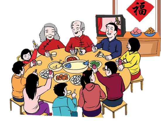 除夕夜,家家要吃团圆饭.